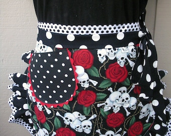 Aprons - Womens Day of The Dead Aprons - Skulls and Roses Aprons - Aprons - Aprons with Skulls - Annies Attic Aprons - Tattoo Pallor Aprons