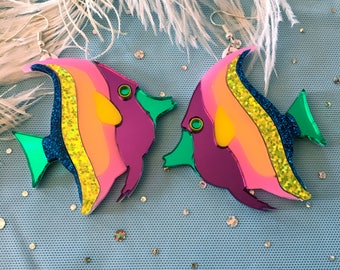 Rainbow Tropical Fish Laser Cut Earrings
