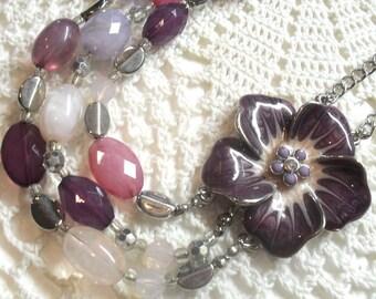 Vintage 3 Strand Purple Lucite Necklace with Side Enameled Metal Flower