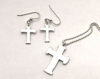 Cross Pendant or Earrings Made from Silver Vintage American Coin Dime Quarter Half Dollar