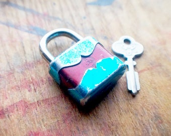 Antique German Trelock Padlock - Small Blue and Red Vintage Padlock with Key - Western Germany