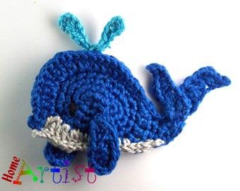 Crochet Applique Whale
