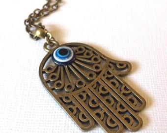 SUMMER SALE Oversized Hamsa and Evil Eye Necklace on Bronze Cable Chain - Hamsa Hand Pendant