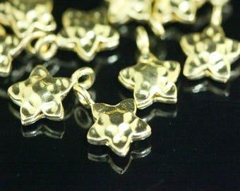 KG-219 Thai karen hill tribe silver 4 gold vermeil hammered star puffy charm