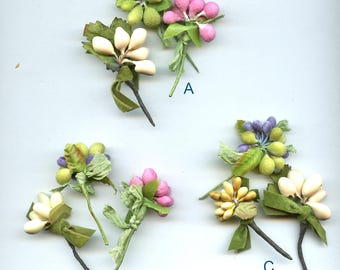 Lot of (3) Mini Millinery Fruit Clusters or Stamens Pastels Spun Cotton CHOICE 4090