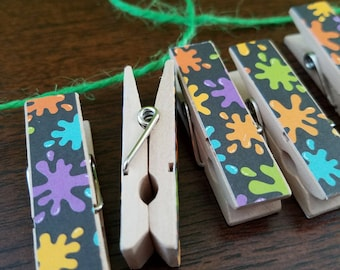 Paint Splashes - Art Class - Paint Night Chunky Little Clothespin Clips w Twine for Display - Set of 12 - Gifts Under 10 - Teacher Gifts