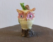 Miniature owl with snail, Fairy garden or terrariums mini tiny owl figurine