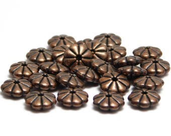 Copper Spacers - Daisy Spacers - Rondelle Beads - Spacer Beads - Copper Rondelle - Copper Beads - 10pcs (128)