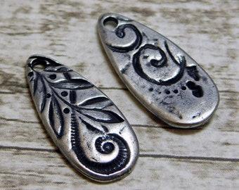 TierraCast Charms - Silver Charms - Teardrop Charm - Dulce Vida - Jardin Teardrop - 23x10mm - 2pcs (1820-2)