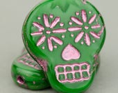 Czech Glass Sugar Skull Beads - Green and Pink - Quantity 4