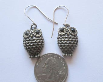 Owl Earrings with Rhinestone Eyes