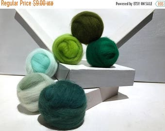 "KIT SALE Green roving sampler, Green Felting wool kit, ""Eat Your Greens"" Spruce, Mint Green Sage Lime Dark Olive Emerald, wool roving kit, f"
