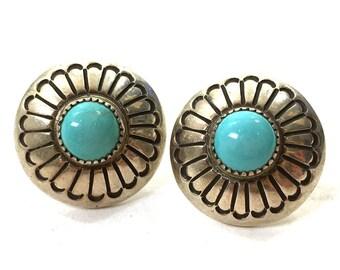 60s Navajo Sterling & Turquoise Earrings Vintage Native American Silver Button Stud Earrings Pierced Ears Southwest Boho Tribal Hippie