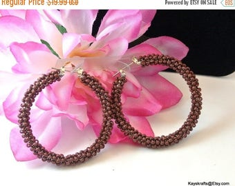 Eclipse Sale Brown Seed Bead Earrings, Vintage Brown Bead Earrings, Vintage Hoops, 1980 Hoop Earrings, Brown Bead Earrings, Christmas Gift