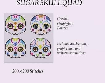 Sugar Skull Quad - Crochet Graphghan Pattern