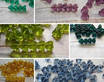 Flower Beads 4 x 6 mm Czech Glass Bell Flower Transparent Colors 20 Beads