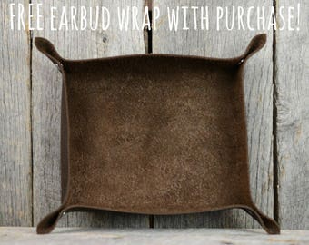 Stone Oiled Leather Snap Valet Tray Catchall
