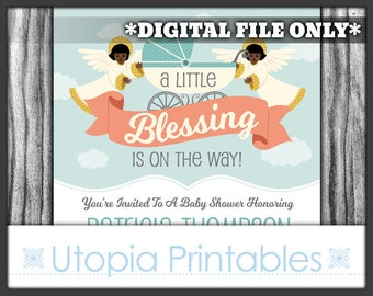 Little Blessing African American Baby Shower Invitation Angels Party Ethnic Black Afrocentric Theme Cute Digital Printable Customized