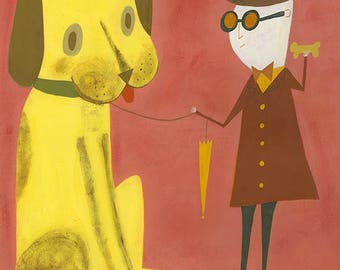 Ellwood is always reluctant to go on his afternoon walk. Limited edition print by Matte Stephens.