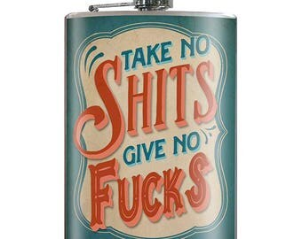 Take No Shits Give No Fucks - Vintage Funny Hilarious Novelty 8oz Stainless Steel Flask - comes in a GIFT BOX -  by Trixie & Milo