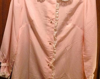 Flash Sale Vintage Christian Dior Pink White Lace Bed Jacket Short Robe Lingerie Nightgown Bed Shirt Victorian Top ILGWU NOS Wedding Night