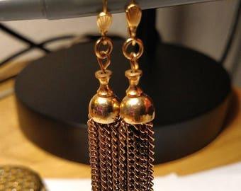 BIG SALE Vintage Boho Burlesque Long Gold Chandelier Chain Tassel Earrings Pierced