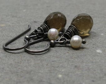 Whiskey Quartz Earrings White Pearls Oxidized Sterling Silver Gemstone Gift for Her June Birthstone
