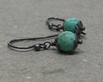 Green Chrysoprase Earrings Petite Minimalist Mint Green Oxidized Sterling Silver Earrings Gift for Her