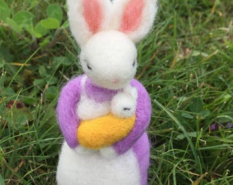 Mom and baby boy/girl felted bunny art doll figurine baby shower gift