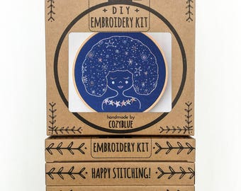 GALAXY GIRL embroidery kit - embroidery hoop art, DIY stitching kit, constellations, night sky, girl with stars in her hair, celestial girl,