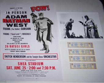 BATMAN at SHEA STADIUM reproductions poster,  8x10 still, and 4 concert tickets  Saturday June 25 1966