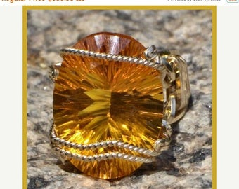 Moving Sale 40% Off Size 8 Stunning Concave 19.5ct. Golden Citrine Ring