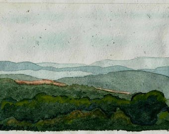 West Virginia Vista watercolor on handmade paper