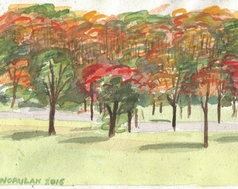 Cacapon Autumn watercolor on handmade paper