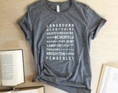 Pride and Prejudice Locations Typography T-shirt- Jane Austen - Pride and Prejudice