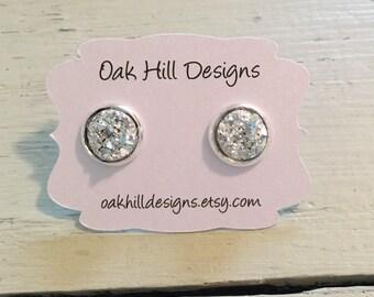 10mm silver stud earrings-small stud earring-silver druzy earrings-small druzy earrings-small drusy earring-stud drusy earring