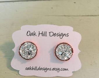 Kelly's convention earrings-12mm silver druzy earring with a rose gold crown-chunky silver druzy