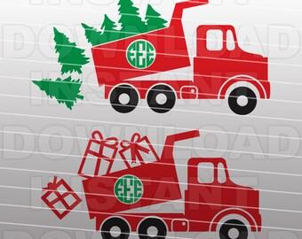 Christmas SVG File-Dump Truck SVG-Monogram svg-Die Cut,Vector Clip Art Commercial & Personal Use Cricut,Silhouette,Cameo,Vinyl,Decal,DIY