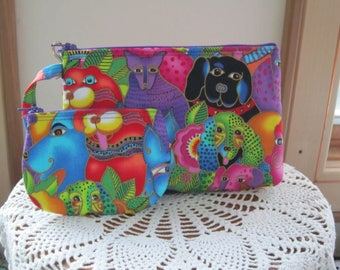 Smart phone Case Gadget Pouch Clutch Wristlet Zipper Gadget Pouch Bag Dogs and Doggies Made in USA Set