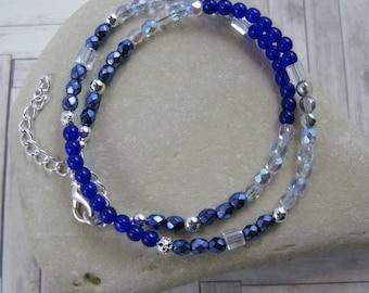 OOAK Cobalt Blue Beaded Wrap Bracelet or Choker - Item 1072