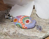 Reserved- Lilac Abstract- lampwork focal bead- Custom Pendant- Lisa New Design