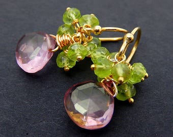 Pink Quartz Earrings, Peridot Cluster Earrings, Gemstone Teardrop Petite Dangles, Gold Vermeil