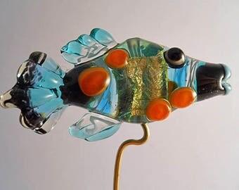 Aqua & silver glass fish Necklace Lampwork glass bead, transparent handmade pendant, Italian glass designer ocean focal bead, SRA art glass