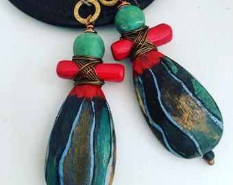 Tribal, painted wood, ceramic, blue, green, red earrings
