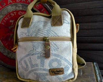 Fulton Eagle Seeds - Chicago - Mini Backpack/ Shoulder Bag/ Mini Tote - Vintage seed sack Canvas & Leather Bag Selina Vaughan Studios