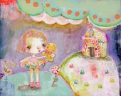 Miss Goodie Gumdrops- mixed media art print by Mindy Lacefield