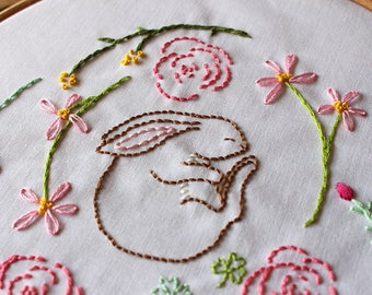 Embroidery Kit - Rabbit Kit - She Sleeps In The Meadows - Bunny baby embroidery, DIY embroidery kit,  flower embroidery pattern