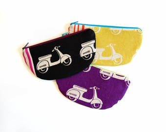 Coin Purse, Small Zipper Pouch, Zip Wallet, Choice of Colors, Women and Teens, Echino Scooter Fabrics