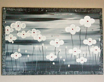 Grey Painting Original Modern Textured Art Contemporary Style Unique Canvas Nature Landscape Flowers Acrylic by Artist Heather Lange