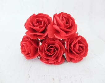 5 35mm red mulberry paper roses